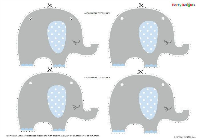 Blue Elephant Baby Shower Bunting