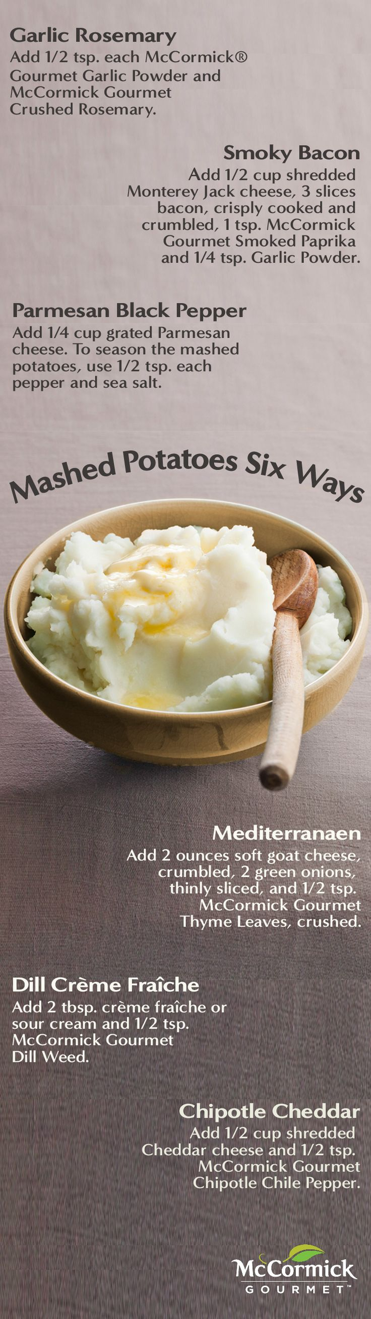 This Thanksgiving, mix up a classic side dish with these mashed potato recipes including Mediterranean, smoky bacon, chipotle cheddar and more.