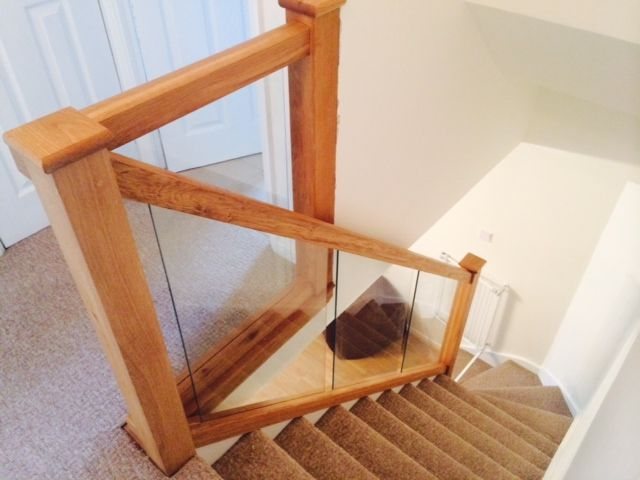 Glass and oak stairs