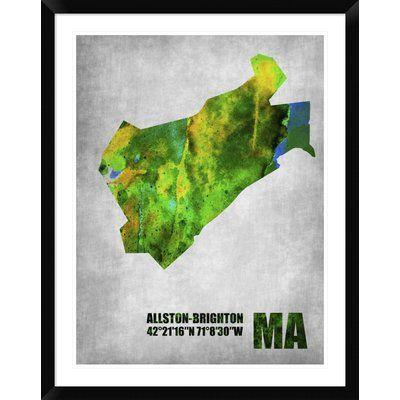 """Naxart 'Allston-Brighton Massachusetts' Framed Graphic Art Print Size: 38"""" H x 30"""" W x 1.5"""" D"""