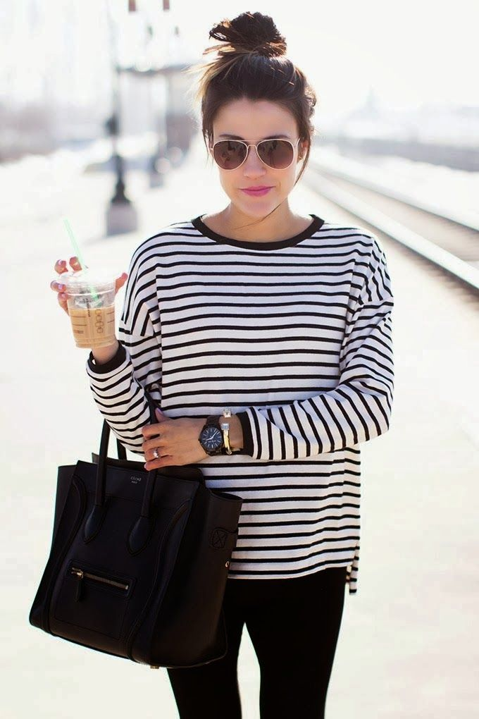 Breton stripes. Black skinnies. Tote bag. Quick topknot. Easy chic for school runs and coffee meetings. Add pumps for a day at the office.