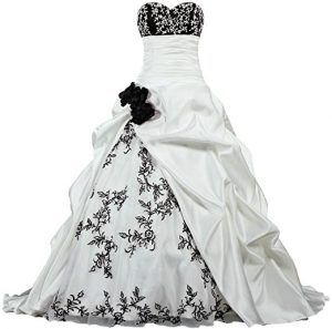 Black White Flowers Embroidery Satin Emo Wedding Dress