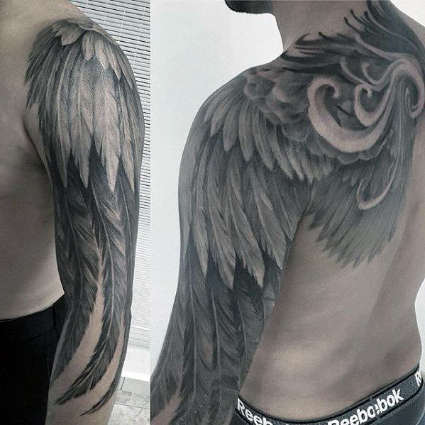 257 best tattoo design ideas images on pinterest angels for Mens wing tattoo