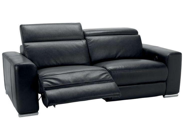 Canapé relaxation 3 places STAN coloris noir prix promo Canapé cuir Conforama 1 799.20 € TTC au lieu de 2 566 €