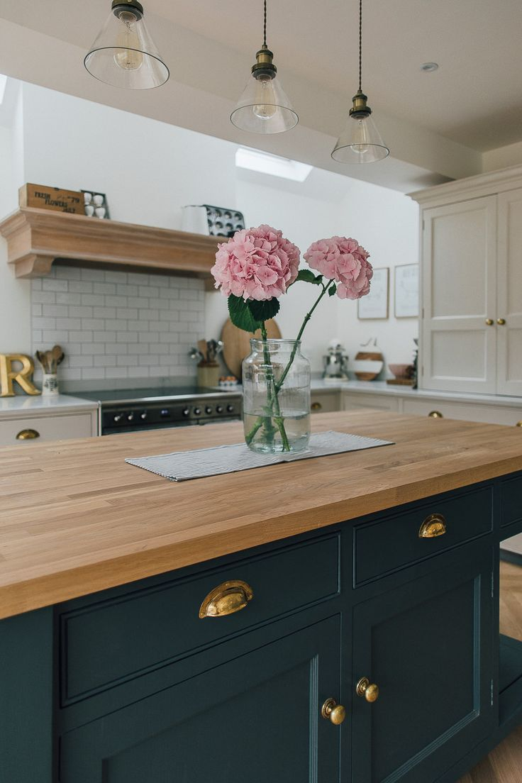 Hydrangeas On A Wooden Island Work Surface - A Modern Country Farrow & Ball Downpipe And Skimming Stone Kitchen With Oak Parquet Flooring