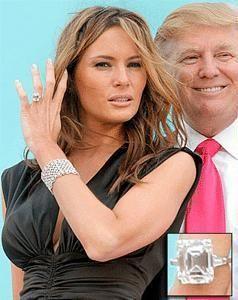 Melania Knauss's 12 carat emerald engagement ring worth 2 million from Donald Trump.