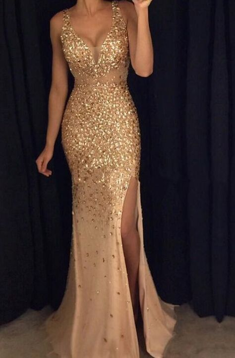 Modest Prom Dresses,Handmade Evening Gowns,Front Split Gold Prom Dresses With Straps,Sexy V-neck Prom Gonws,Long Prom Dress For Teens,Sparkly Modest Evening Dresses,Party Dresses