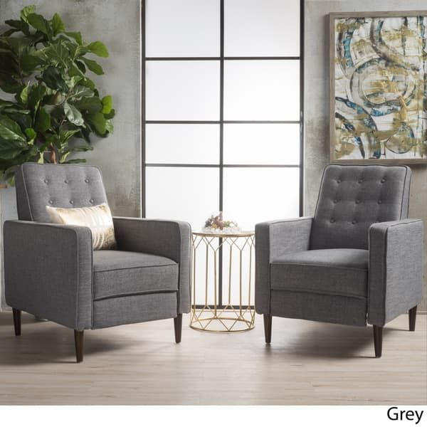 Mervynn Mid Century Fabric Recliner Accent Chair Set Of 2 By Christopher Knight Home Mid Century Recliner Living Room Chairs Mid Century Modern Fabric #set #of #2 #accent #chairs #for #living #room