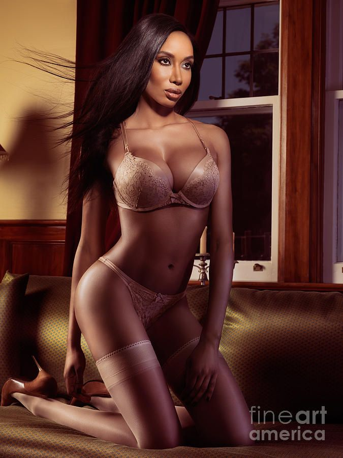 7051c04aa Lingerie Photograph - Beautiful Black Woman In Lingerie Posing On A Bed by  Oleksiy Maksymenko