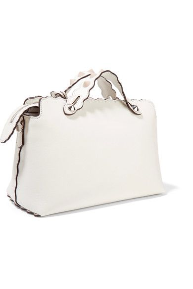 Fendi - By The Way Small Studded Leather Shoulder Bag - White - one size