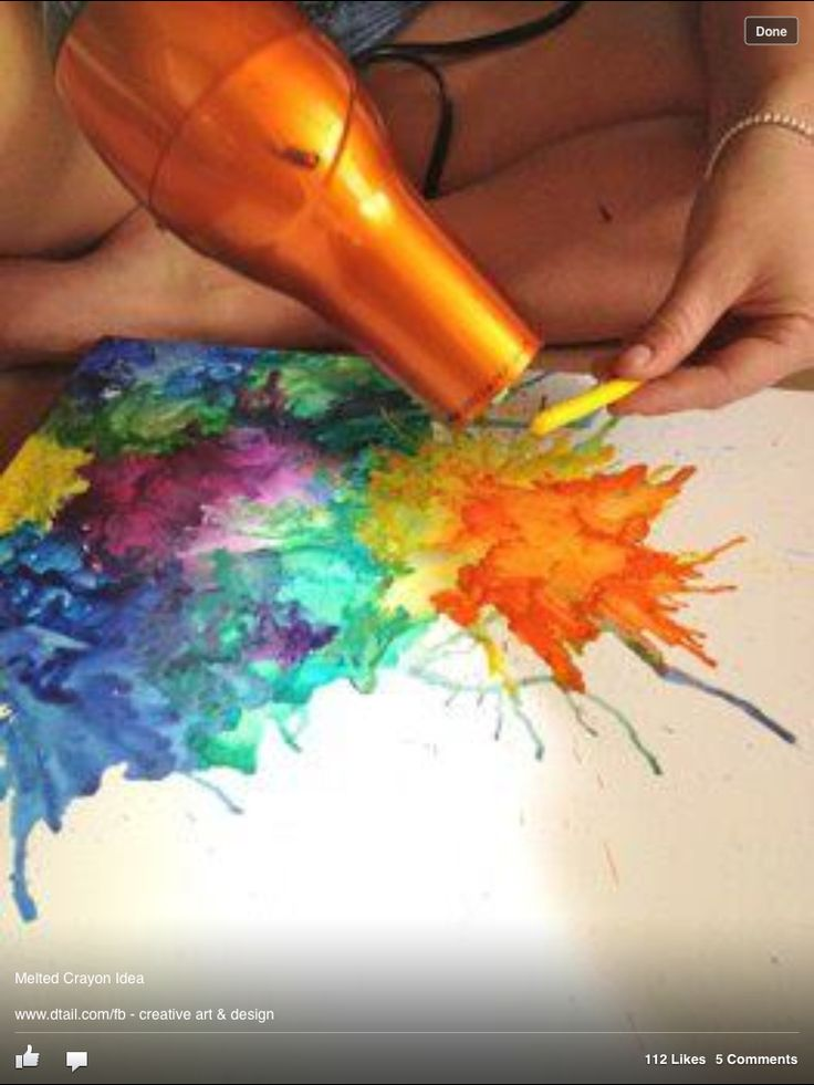 Melted Crayon Craft with a blow dryer