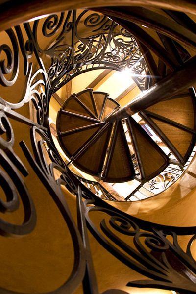 I will have spiral stairs in my house..: Amazing Stairwell, Iron Swirls Doors, Spirals Staircases, Doors Stairs, Spirals Stairs, Grand Staircas, Spirals Stairways, Stairs Windows, Amazing Iron