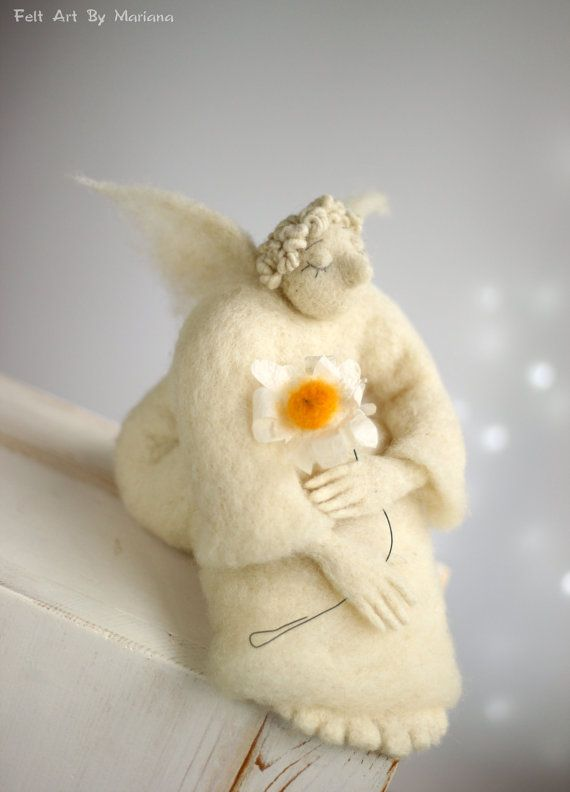 Needle Felt Angel Dreamy Angel With A Daisy by FeltArtByMariana