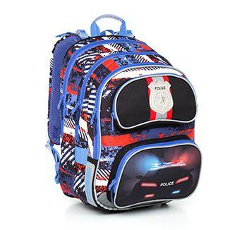Plecak do 1-3 klasy, model CHI 794 D - Blue, motyw policyjny. Plecak posiada metalową odznakę