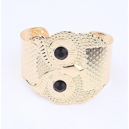Gold Owl Black Eyes Cuff Bracelet