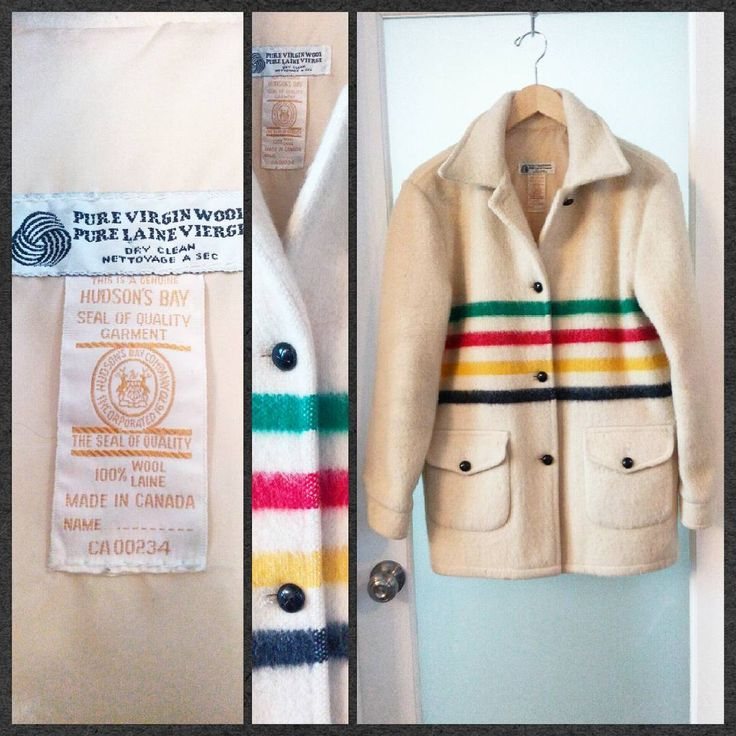 "A Canadian classic.  Hudson's Bay Company striped blanket coat, Women's M-L.  Chest measures 21"". Very good vintage condition."