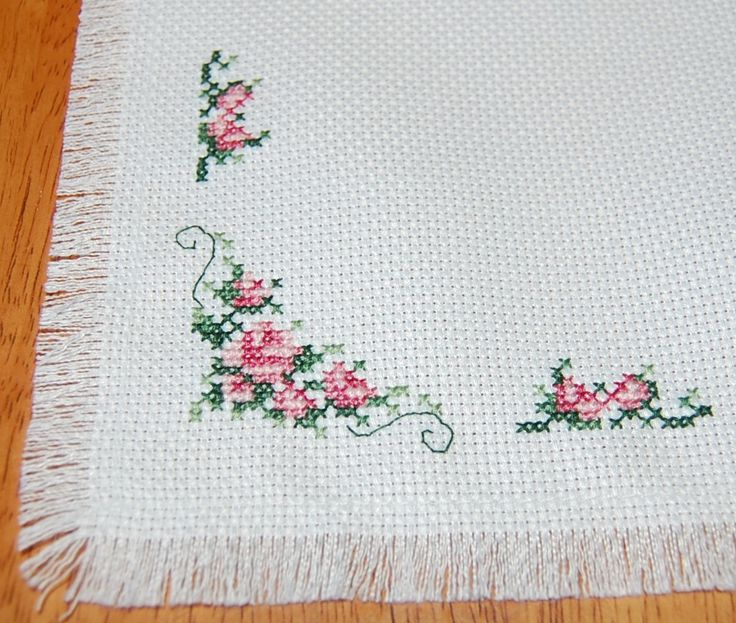 Delicate Roses Cross Stitch Mat/ Table Topper by CraftsForKids on Etsy https://www.etsy.com/listing/130780456/delicate-roses-cross-stitch-mat-table