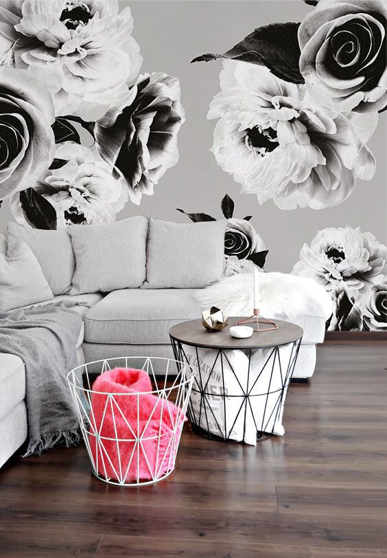 Black and White Floral Mural Wallpaper - Adhesive Wallpaper - Removable Wallpaper - Wall Sticker - Colorful Pattern - Customizable Wallpaper by thinkimprint on Etsy https://www.etsy.com/listing/404818551/black-and-white-floral-mural-wallpaper