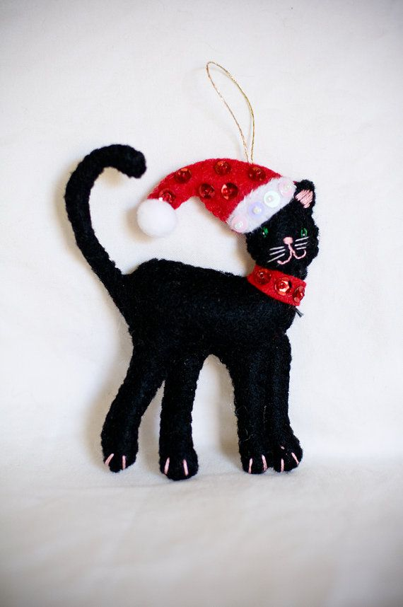 black felt cat christmas decoration christmas tree decor festive ornaments kitten in santa hat black cat christmas gift christmas felt pinterest