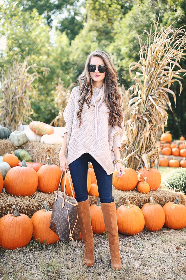 Last Call cable knit turtleneck poncho c/o // dark wash skinny jeans   Vince Camuto suede boots c/o // chunky gold bracele...