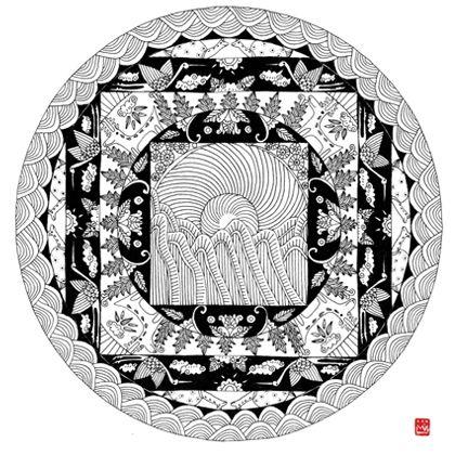 십장생 만다라,  MANDALA <The ten traditional Symbols of Longevity>