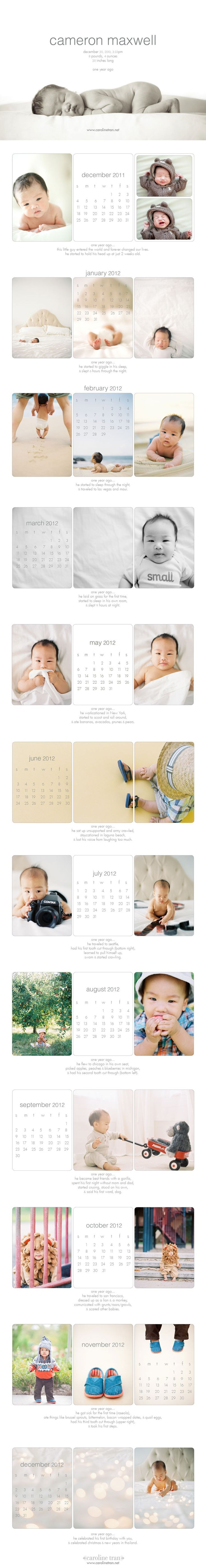 """One Year Ago"" calenders chronicling his first year. These were printed as individual months and packaged in a clear case as favors from his first birthday party."