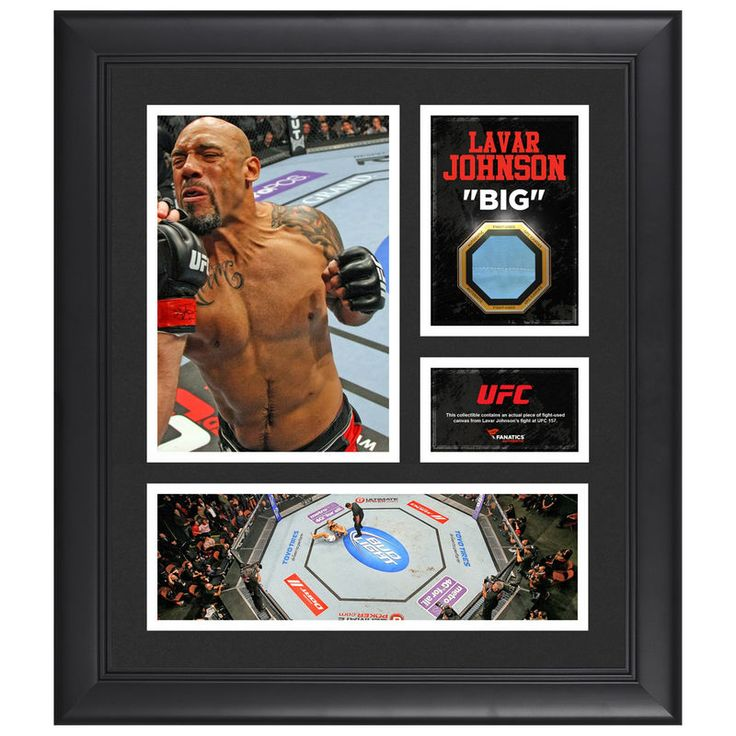 "Lavar Johnson Ultimate Fighting Championship Fanatics Authentic Framed 15"" x 17"" Collage with Piece of Match-Used Canvas from UFC 157"