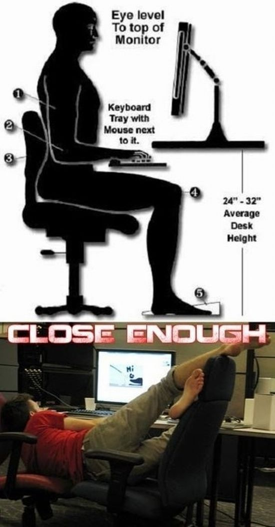 Proper way to sit at your desk..