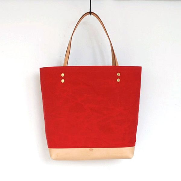 Waxed Tote - Red & Natural from Ten Things via The Third Row