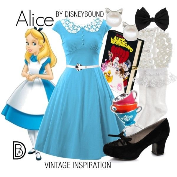 Alice by leslieakay on Polyvore featuring Monsoon, Ellie, Olympia Le-Tan, Kim Rogers, Disney Couture, Dorothy Perkins, Disney, vintage, disney and disneybound