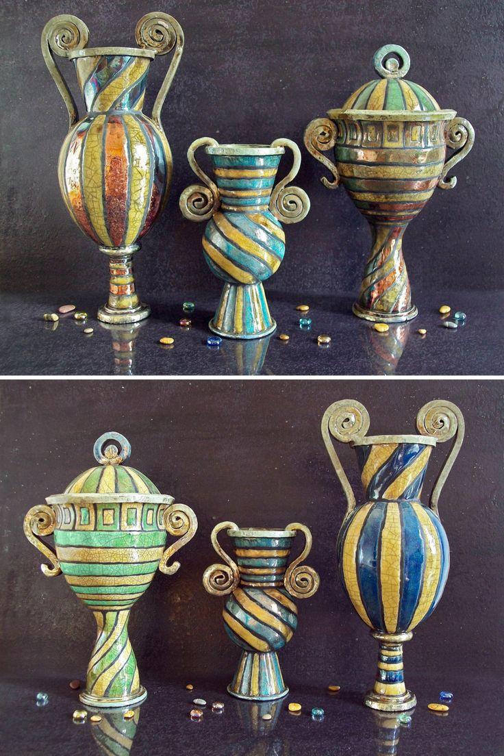 Le tre Parche - Set grandi vasi in ceramica raku - coppa anfora vaso di FedericoBecchettiArt su Etsy