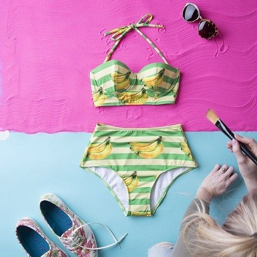 Fun with styling a banana bikini #behindthescenes at our latest swim-themed shoot. #modcloth
