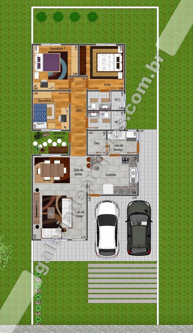 C projeto casa t rrea 2 quartos e 1 su te for Casas modernas de 80 metros