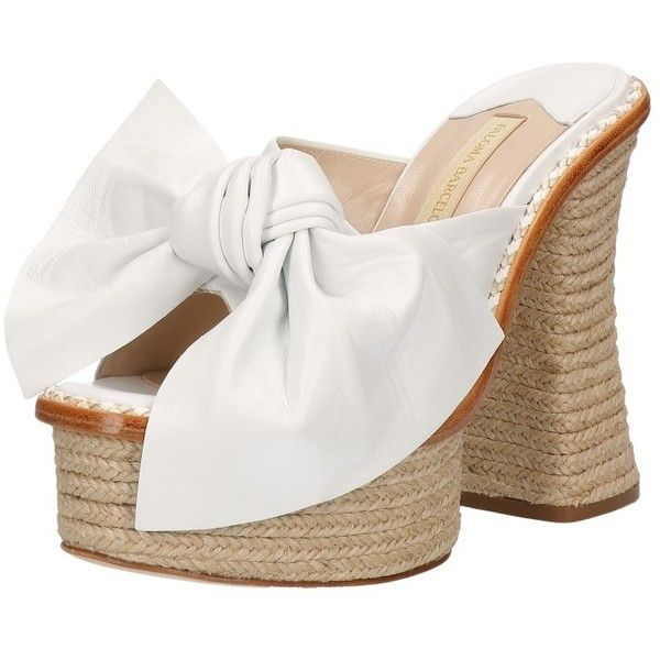 Paloma Barcelò Bow Detail White Espadrillas Mule Sandals ($360) ❤ liked on Polyvore featuring shoes, sandals, leather sole sandals, mule sandals, leather sole shoes, high heel mule sandals and platform sandals