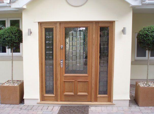 Front doors with sidelights panel oak doorscreedmore for Hardwood outside doors