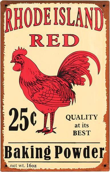 Vintage Rooster Rhode Island Red Baking Powder Sign 31689