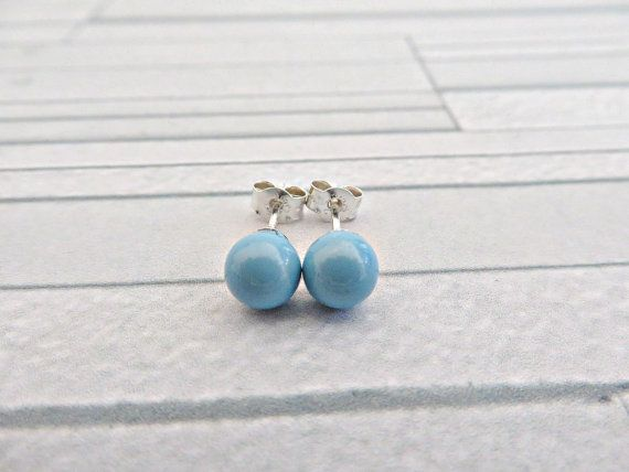 Turquoise pearl stud earrings, Pearl studs, Turquoise studs, December birthstone earrings, Turquoise & silver stud earrings, Made in the UK