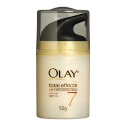 Olay Total Effects Moisturiser $31.99. Remember when it was called Oil of Ulan? Still adored the world over and still fighting the good fight against the 7 signs of ageing, this classic has now reached legendary status.