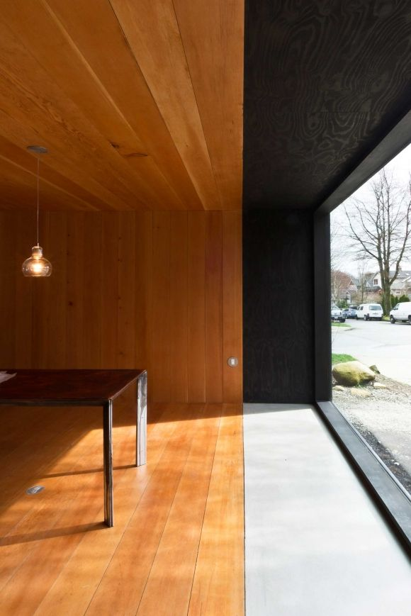 Douglas Fir interior with black stained fir and sliding windows