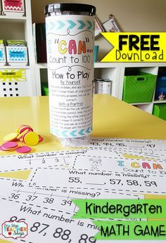 """Count to 100 in Kindergarten: FREE """"I CAN"""" Math game covers all standards for COUNTING to 100 in Kindergarten. Perfect for Guided Math & Math Centers! {Common Core} FREE"""