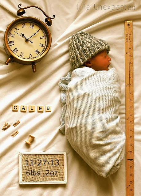 Adorable idea for a birth announcement or newborn photo!