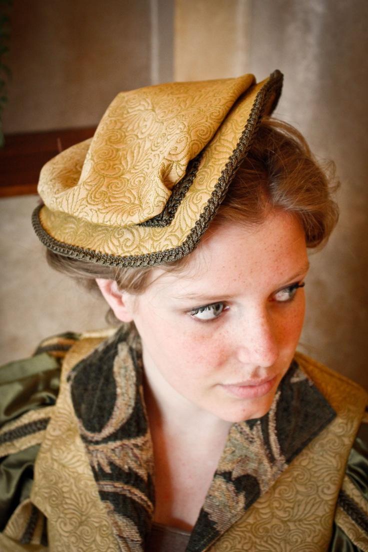 Renaissance Tudor Elizabethan Court Puffed Riding hat headpiece CUSTOM.  via Etsy.