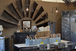 Love the fan blades on the wall.