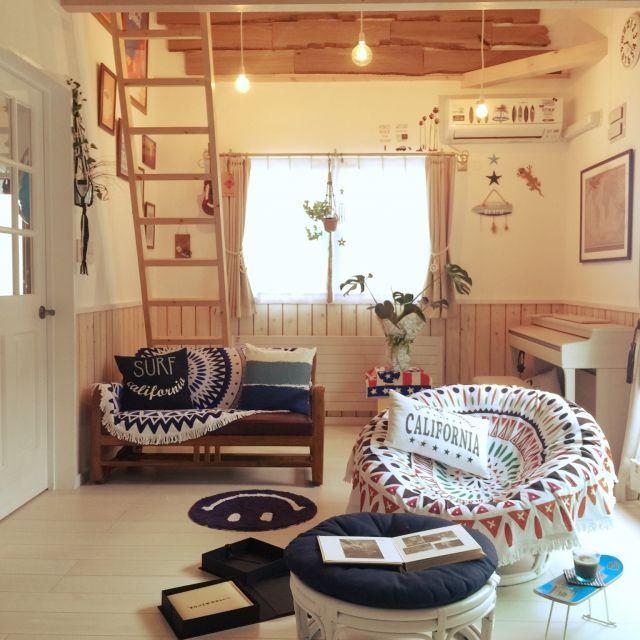 ラウンドビーチタオルが素敵!インテリアとして使うお部屋、増えてます | RoomClip mag | 暮らしとインテリアのwebマガジン