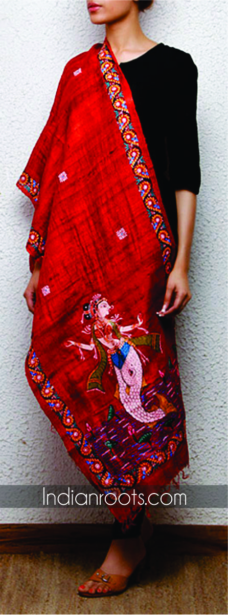 Red tussar silk stole featuring hand painted Patachitra art by Crafts Collection on Indianroots.com