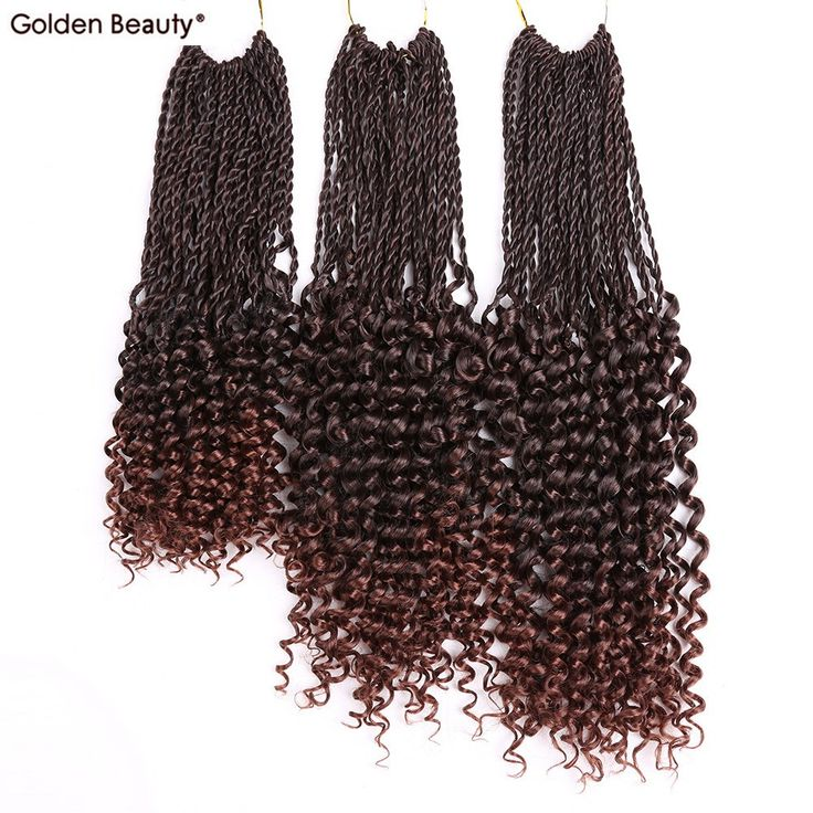 14-18inch Pre Flashy Curly senegalese twist crochet braids hair extensions synthetic braiding hair For black women Golden Beauty