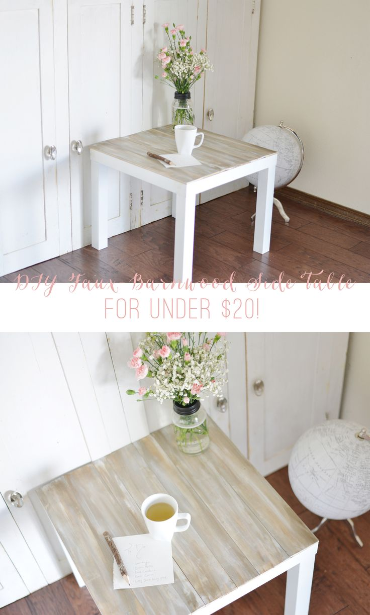 White side table - Diy Faux Barnwood Side Table