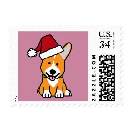 #Corgi dog puppy Pembroke Welsh Christmas Santa hat Postage - #pembroke #welsh #corgi #puppy #dog #dogs #pet #pets #cute #pembrokewelshcorgi