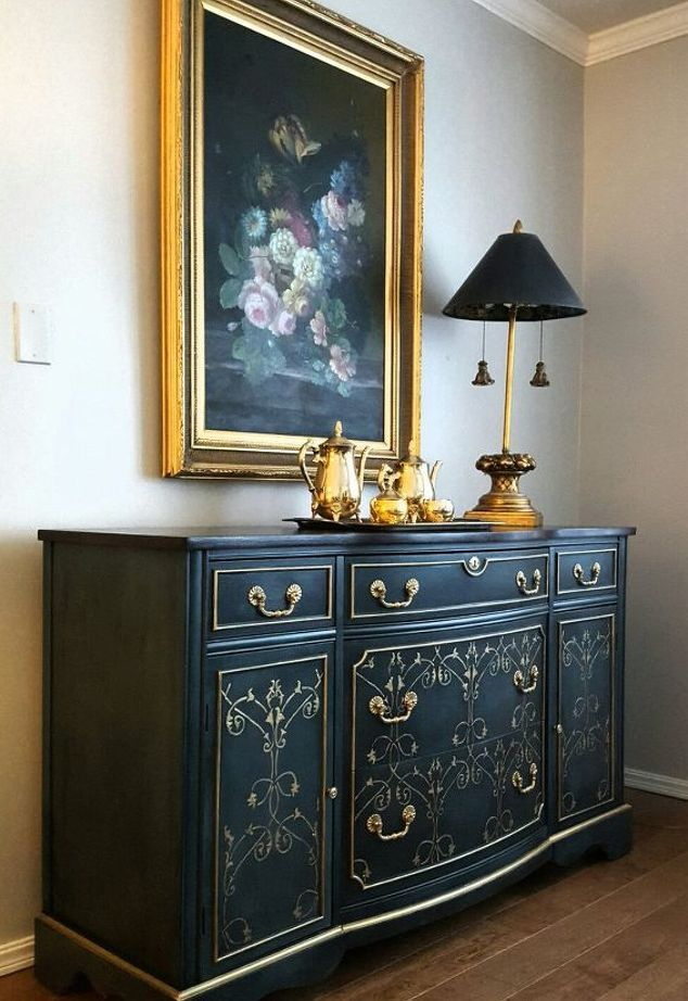 Gold and Navy Sideboard | Gold Rush Metallic Paint by Modern Masters on Embossed Pattern Design | Project by Pamela Field featured on Hometalk