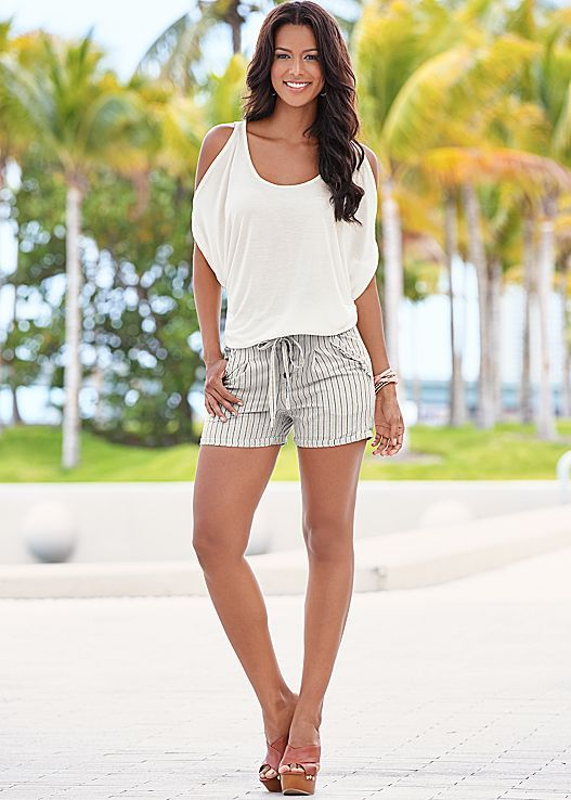 Summer is just another word for shorts season! Venus tie detail stripe shorts.